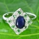 Green and Blue Sapphire 925 Silver Ring Size 7.25