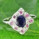 Blue and Pink Sapphire 925 Silver Ring Size 7.00
