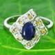 Blue and Yellow Sapphire 925 Silver Ring Size 5.75