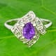 Amethyst and Green Sapphire 925 Silver Ring Size 8.00