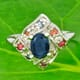 Blue and Fancy Sapphire 925 Silver Ring Size 5.75