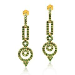 Designer Earrings in 14K Gold and Tsavorite Garnet