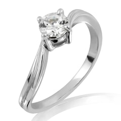 18KT Gold and 0.25 Carat H Color VVS2 Clarity Diamond Ring