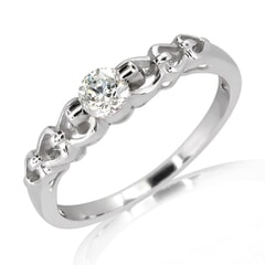 18K Gold and 0.20 Carat E Color VS Clarity Diamond Ring