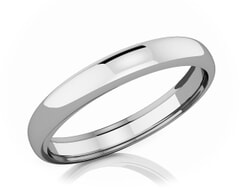 3.50 mm Dome Shape Romantic Classic Platinum Wedding Band