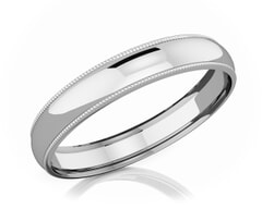 4 mm Milgrain Domed Romantic Classic Platinum Wedding Band