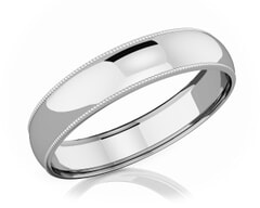 5 mm Milgrain Domed Romantic Classic Platinum Wedding Band