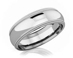 6 mm Milgrain Domed Romantic Classic Platinum Wedding Band