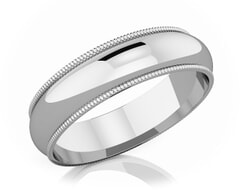 5 mm Milgrain Edge Romantic Classic Platinum Wedding Band