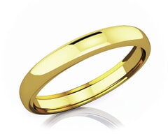 3.50 mm Dome Shape Romantic Classic 18K Gold Wedding Band