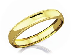 4 mm Milgrain Domed Romantic Classic 18K Gold Wedding Band