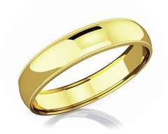 5 mm Milgrain Domed Romantic Classic 18K Gold Wedding Band