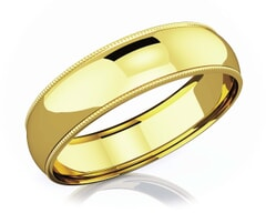 6 mm Milgrain Domed Romantic Classic 18K Gold Wedding Band