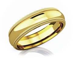 5 mm Double Milgrain Domed Romantic Classic 18K Gold Wedding Band