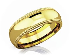 6 mm Double Milgrain Domed Romantic Classic 18K Gold Wedding Band