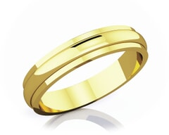 4 mm Half Rounded Edge Romantic Classic 18K Gold Wedding Band