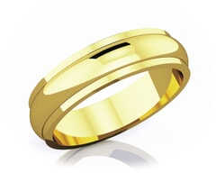 5 mm Half Rounded Edge Romantic Classic 18K Gold Wedding Band