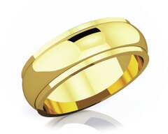 6 mm Half Rounded Edge Romantic Classic 18K Gold Wedding Band