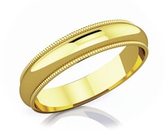 4 mm Milgrain Edge Romantic Classic 18K Gold Wedding Band
