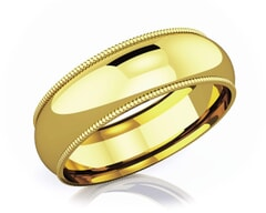 6 mm Milgrain Edge Romantic Classic 18K Gold Wedding Band