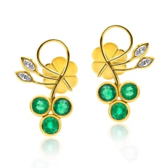 Stud Earring in 14K Gold,Diamonds and Emeralds