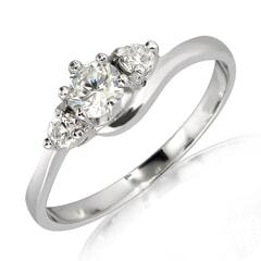 18K Gold and 0.35 Carat E Color VS Clarity Diamond Ring
