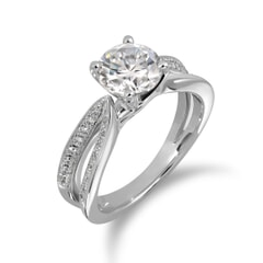 18KT Gold and 0.50 Carat D Color VS1 Clarity GIA Certified Diamond Ring