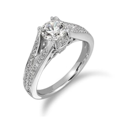 18KT Gold and 0.63 Carat D Color VS1 Clarity GIA Certified Diamond Ring