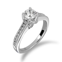 18KT Gold and 0.56 Carat D Color VS1 Clarity GIA Certified Diamond Ring