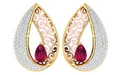 18KT Gold and 0.49 Carat Diamond Earrings