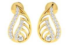 18KT Gold and 0.18 Carat Diamond Earrings