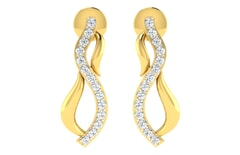 18KT Gold and 0.17 Carat Diamond Earrings