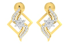18KT Gold and 0.21 Carat Diamond Earrings