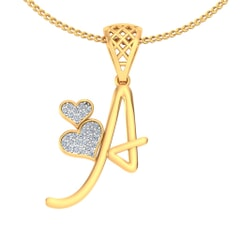 A -18K Gold and 0.11 Carat F Color VS Clarity Initial Pendant