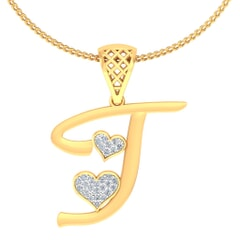 I -18K Gold and 0.11 Carat F Color VS Clarity Initial Pendant