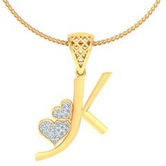 K -18K Gold and 0.11 Carat F Color VS Clarity Initial Pendant