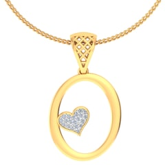 O -18K Gold and 0.08 Carat F Color VS Clarity Initial Pendant