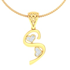 S -18K Gold and 0.06 Carat F Color VS Clarity Initial Pendant
