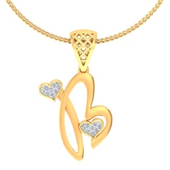 B -18K Gold and 0.06 Carat F Color VS Clarity Initial Pendant