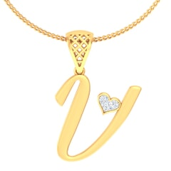 V -18K Gold and 0.03 Carat F Color VS Clarity Initial Pendant