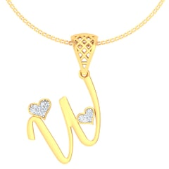 W -18K Gold and 0.05 Carat F Color VS Clarity Initial Pendant