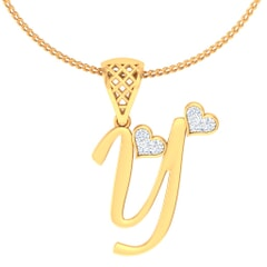 Y -18K Gold and 0.06 Carat F Color VS Clarity Initial Pendant
