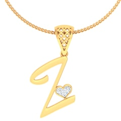 Z -18K Gold and 0.03 Carat F Color VS Clarity Initial Pendant