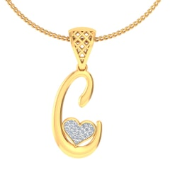 C -18K Gold and 0.08 Carat F Color VS Clarity Initial Pendant