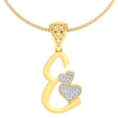 E -18K Gold and 0.11 Carat F Color VS Clarity Initial Pendant