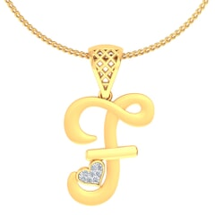 F -18K Gold and 0.03 Carat F Color VS Clarity Initial Pendant