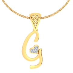 G -18K Gold and 0.03 Carat F Color VS Clarity Initial Pendant