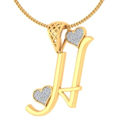 H -18K Gold and 0.15 Carat F Color VS Clarity Initial Pendant