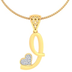 J -18K Gold and 0.08 Carat F Color VS Clarity Initial Pendant