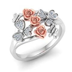 Rose ring in gold and 0.12 carat diamonds